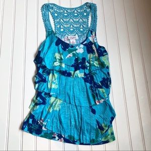 Candies Blue Floral Ruffle Embroidered Tank Top
